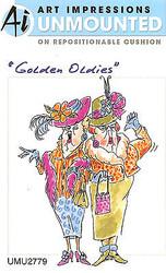 Golden Oldies Hat Girls Unmounted Rubber Stamp On Cushion AI Art Impressions NEW