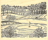 Golf Course With Green, Wood Mounted Rubber Stamp NORTHWOODS - NEW, P9785