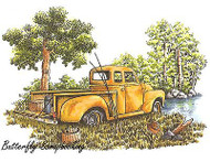 Gone Fishing Classic Truck Cling Unmounted Rubber Stamp C.C. Designs JD1020 New