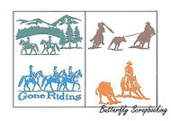 Gone Riding Cowboys, Double-sided Embossing Plate CHEERY LYNN DESIGN - NEW, E110