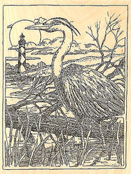 Great Blue Heron Lighthouse Wood Mounted Rubber Stamp Impression Obsession NEW