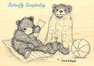 GRUFFIIES BEARS Beach Bears Wood Mounted Rubber Stamp STAMPENDOUS HGRP03 New