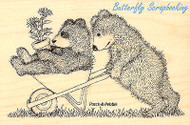 GRUFFIIES BEARS Wheel Bearrow Wood Mounted Rubber Stamp STAMPENDOUS HGRP01 New
