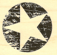 Grunge Star Circle Wood Mounted Rubber Stamp Impression Obsession C13119 NEW