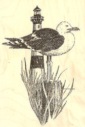 Gull With Lighthouse, Wood Mounted Rubber Stamp IMPRESSION OBSESSION- NEW, F1220