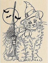 Halloween Bats & Witchy Cat Wood Mounted Rubber Stamp STAMPENDOUS R231 New