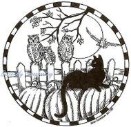 HALLOWEEN Cat Pumpkins Owls Wood Mounted Rubber Stamp NORTHWOODS PP9812 New