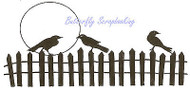 Halloween Crow Fence Moon Wood Mounted Rubber Stamp Northwoods Rubber Stamp New
