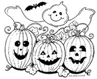 HALLOWEEN Ghost Bat & Pumpkins Wood Mounted Rubber Stamp NORTHWOODS M8118 New