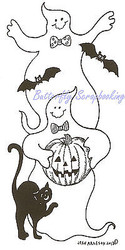 Halloween Ghosts Cat Bats Wood Mounted Rubber Stamp Northwoods Rubber Stamp Ne