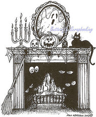 Halloween Haunted Fireplace Wood Mounted Rubber Stamp Northwoods Stamp P9144 New