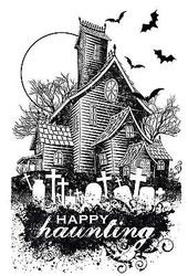 Halloween Haunted House Stamp Clear Unmounted Rubber Stamp HOTP 1163 New