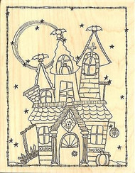 Halloween HAUNTED HOUSE Wood Mounted Rubber Stamp Impression Obsession L19015 NE