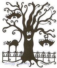 Halloween Moon Tree & Bats Wood Mounted Rubber Stamp Northwoods Rubber Stamp New