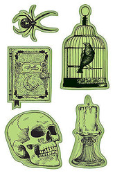 Halloween Nevermore Skull Unmounted Cling Rubber Stamp Set Inkadinkado New