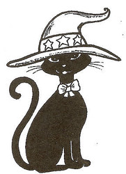 Halloween Sassy Cat Witch Hat Wood Mounted Rubber Stamp NORTHWOODS E9580 New