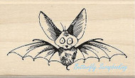 HALLOWEEN SCAREDY BAT Wood Mounted Rubber Stamp by INKADINKADO 60-01095 NEW