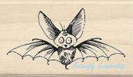 HALLOWEEN SCAREDY BAT Wood Mounted Rubber Stamp by INKADINKADO 60-01095 NEW