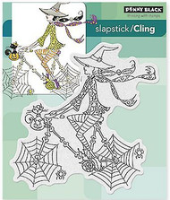 Halloween SPINNING B WITCH Cling Style Unmounted Rubber Stamp PENNY BLACK 40-360