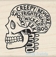 HALLOWEEN SPOOKY SKULL Wood Mounted Rubber Stamp by INKADINKADO 60-01087 NEW