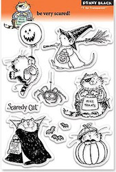 HALLOWEEN Stamp Set Clear Unmounted Rubber Stamp Set PENNY BLACK 30-054 New