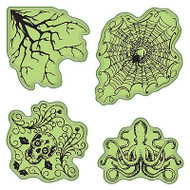 Halloween Stamping Gear Unmounted Cling Rubber Stamp Set Inkadinkado New