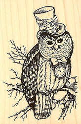 HALLOWEEN Steam Punk Owl Wood Mounted Rubber Stamp STAMPENDOUS Stamp P174 New