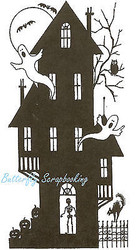 Halloween T Haunted House Wood Mounted Rubber Stamp Northwoods Rubber Stamp New