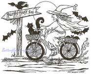 Halloween Witch On Bike Wood Mounted Rubber Stamp Northwoods Rubber Stamp New