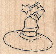 Halloween Witches Star Hat Wood Mounted Rubber Stamp IMPRESSION OBSESSION New