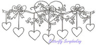 Hanging Hearts Vine Wood Mounted Rubber Stamp NORTHWOODS O9390 Valentine New