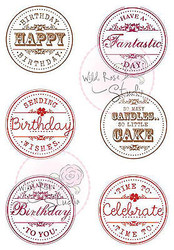 Happy Birthday Circles Clear Unmounted Rubber Stamp Wild Rose Studio # CL231 New