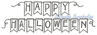 Happy HALLOWEEN Pennant Wood Mounted Rubber Stamp NORTHWOODS D9928 New