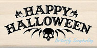 HAPPY HALLOWEEN SKULL Wood Mounted Rubber Stamp by INKADINKADO 60-01121 NEW