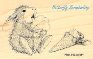 HAPPY HOPPERS Bunny Ice Cream Wood Mounted Rubber Stamp STAMPENDOUS HHM01 New