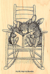 Happy Hoppers Reading Rabbits Wood Mounted Rubber Stamp STAMPENDOUS HHP02 New