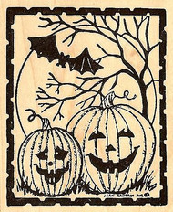 Happy Jacks And Moon Halloween, Wood Mounted Rubber Stamp NORTHWOODS - NEW, M818