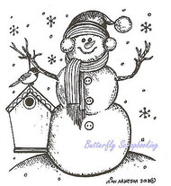 Happy Snowman With Birdhouse Wood Mounted Rubber Stamp NORTHWOODS F9308 New