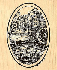 Harvest Mill Oval, Wood Mounted Rubber Stamp NORTHWOODS - NEW, P6728