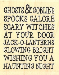 Haunting Night Text, Wood Mounted Rubber Stamp IMPRESSION OBSESSION -NEW, D14316