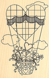 Heart Balloon Wood Mounted Rubber Stamp Impression Obsession Leigh Hannan NEW