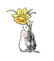 Hedgehog & Spring Daffodil, Wood Mounted Rubber Stamp PENNY BLACK - NEW, 2304F