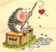 Hedgehog FISHING HOOK LINE Wood Mounted Rubber Stamp PENNY BLACK 3777H New