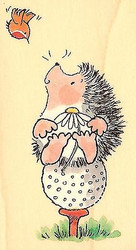 Hedgehog GOLF TEED UP Wood Mounted Rubber Stamp PENNY BLACK 2895H New