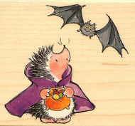 Hedgehog HALLOWEEN COUNT HEDGULA Wood Mounted Rubber Stamp PENNY BLACK 4286K New