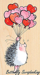 Hedgehog Love Heart Balloons Wood Mounted Rubber Stamp PENNY BLACK  4229K New