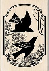 Heirloom Song Birds Print Wood Mounted Rubber Stamp INKADINKADO New