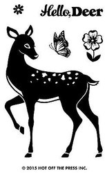 Hello DEER 5 Small Stamps Clear Unmounted Rubber Stamp Set HOTP 1184 New
