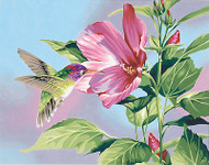 Hibiscus Hummingbird Paint By Number Kit Russell Cobane by Dimensions 14x11 NEW