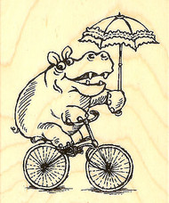 Hippo Cycle Bike Wood Mounted Rubber Stamp STAMPENDOUS V271 New